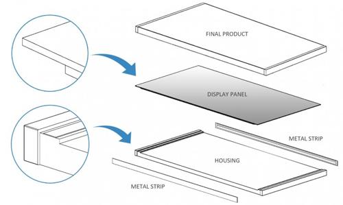 Thiết kế smartphone của Huawei gồm một khung điện thoại (housing), hai tấm kim loại (metal stripp) dán ở hai bên và màn hình đặt phía trên.