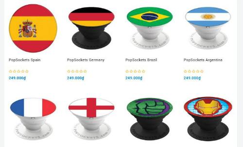 Miếng gắn lưng in hình cờ các đội tuyển dự World Cup trên một trang thương mại điện tử.