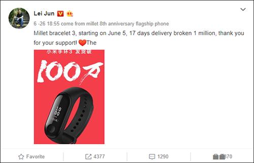 CEO Xiaomi khoe doanh số Mi Band 3 trên Weibo.