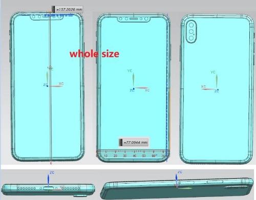 Trong đó, iPhone X Plus có cụm camera ở mặt lưng với 3 ống kính được đặt thẳng một hàng theo chiều dọc.