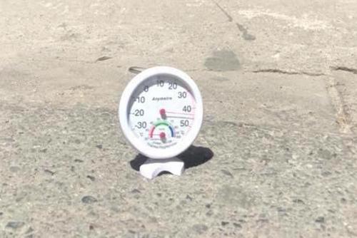 Người dùng đo nhiệt độ theo cách thông thường, đặt trực tiếp trên nền bê tông, giữa trời nắng.