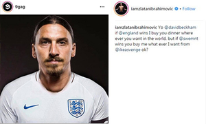 Ibrahimovic thua cá cược Beckham trên Instagram