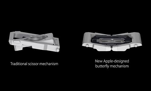Cơ chế phím kiểu cũ (trái) và bàn phím cánh bướm (phải).