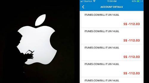 Danh sách các giao dịch trái phép trên iTunes xuất hiện trong tài khoản ngân hàng của Deepan Chakkaravarthi. Ảnh: Reuters