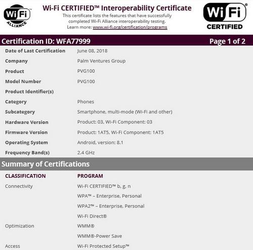 Mẫu smartphone PVG100 đạt chứng nhận Wi-Fi của Wi-Fi Alliance.