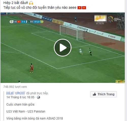 Một fanpage phát lậu trận Việt Nam - Pakistan trong khuôn khổ Asiad 2018.