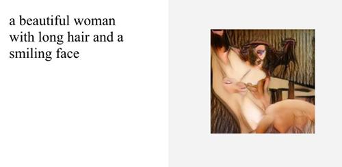 Hình ảnh do AI tạo ra khi nhập cụm từ một người phụ nữđẹp với tóc dài và khuôn mặt mỉm cười.