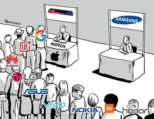 Hàng loạt nhà sản xuất Android công khai bắt chước thiết kế của iPhone X.Ảnh: Reddit