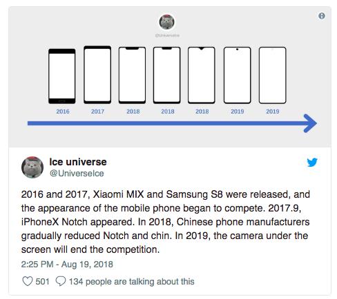 Ice Universe cho rằng smartphone năm 2019 sẽ không còn tai thỏ.