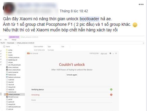 Thông tin tăng thời gian mở khóa bootloader của điện thoại Xiaomi được bàn tán nhiều trên mạng xã hội.