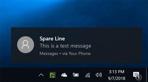 Thông báo tin nhắn trên máy tính chạy Windows 10.