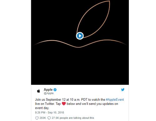 Thông báo của Apple trên Twitter.