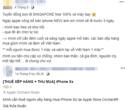 Một số dân buôn thuê người đi Singapore mua iPhone mới trên Facebook.