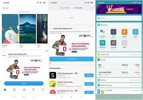 Quảng cáo xuất hiện trên nhiều ứng dụng mặc định của Xiaomi.
