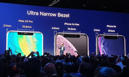Huawei khoe Mate 20 Pro có viền mỏng bằng nửa iPhone Xs Max