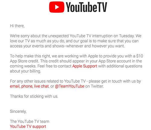 Thông báo của YouTube trên trang hỗ trợ.