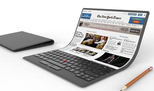 Một concept laptop với màn hình uốn cong. Ảnh: Fossbytes.