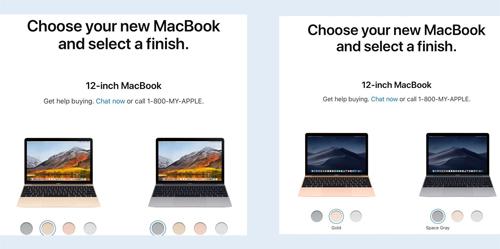MacBook 12 inch không còn lựa chọn màu vàng hồng (bên phải).