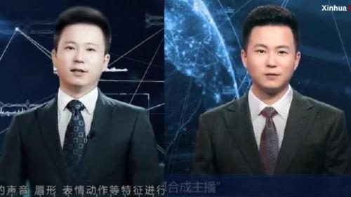 Phát thanh viên của Xinhua, Zhang Zhao (trái) và AI mô phỏng anh (phải). Nguồn: Supplied