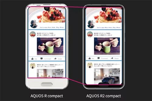 Aquos R2 compact có hai tai thỏ, so dáng với thế hệ trước.