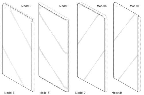 8 trong số 12 thiết kế smartphone của Samsung và S10 có thể có màn hình cong và chấm trong như mẫu C và F.
