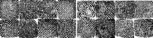 Dấu vân tay thật (trái) và vân tay giả DeepMasterPrints (phải).