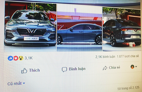 Một status về tặng xe VinFast có hàng nghìn bình luận và chia sẻ.
