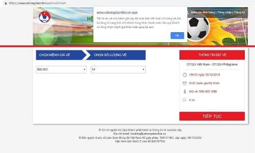 Bốn trang web bán vé bóng đá AFF Cup 2018 cùng sập - 2