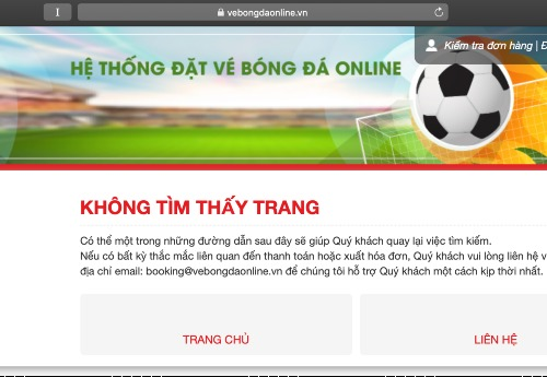 Bốn trang web bán vé bóng đá AFF Cup 2018 cùng bị sập