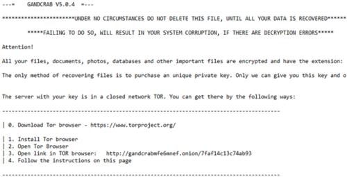 Thông báo đòi tiền chuộc trên máy tính nhiễm mã độc GandCab.