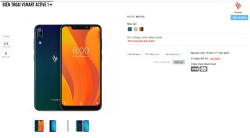 Điện thoại Vsmart đã xuất hiện trên một số trang bán lẻ điện thoại trong nước.