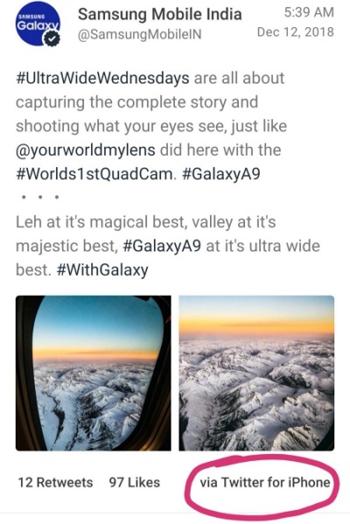 Thông điệp về Galaxy A9 được đăng bằng ứng dụng dành choiPhone.