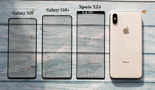 Tương quan kích thước màn hình của XZ4 so với các đối thủ.