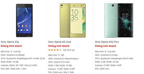 Các mẫu điện thoại Sony đều báo không kinh doanh hoặc hết hàng trên trang của TGDD, FPTShop.