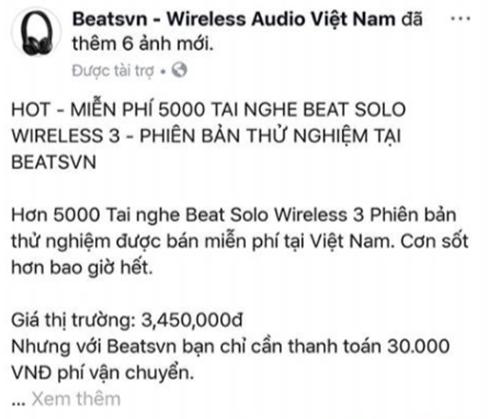 Chiêu lừa miễn phí tai nghe Beats năm ngoái.