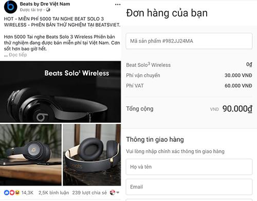 Đoạn trạng thái dụ dỗ người dùng đặt hàng tai nghe Beats giá 0 đồng, nhưng buộc thanh toán 90.000 đồng.