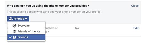 Facebook chỉ cung cấp ba tùy chọn về số điện thoại. Ảnh: Jeremy Burge.