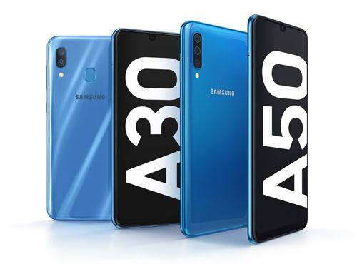 Galaxy A30 và A50 đều có màn hình Infinity-U với kích thước 6,4 inch.