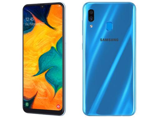 Samsung Galaxy A30 với cảm biến vân tay đặt phía sau, camera kép.
