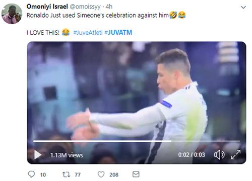 Pha ăn mừng chọc tức Simeone của Ronaldo liên tục được chia sẻ trên Internet. Ảnh chụp màn hình