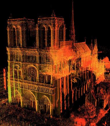 Hình ảnh bản đồ 3D Nhà thờ Đức bà Paris được ghi lại bằng laser. Ảnh: Tallon