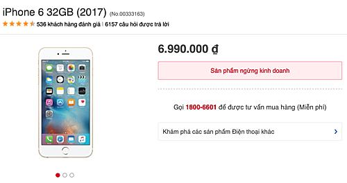iPhone 6 không còn xuất hiện tại nhiều hệ thống dù từng là model bán rất chạy ít tháng trước.