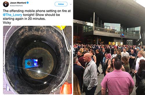 Hình ảnh chiếc Mate 20 Pro bị cháy được Manford chia sẻ trên Twitter (bên trái) và khung cảnh hỗn loạn bên ngoài nhà hát Lyric(bên phải) khi sơ tán.
