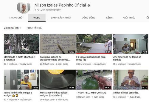 Kênh YouTube của cụ Izaias với gần 5 triệu lượt đăng ký.