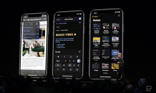 iOS 13 với dark mode. Ảnh: Engadget