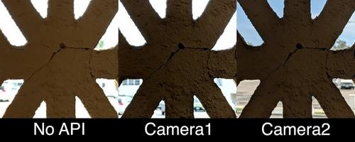 Chất lượng ảnh nếu không dùng API của Google (ngoài cùng bên trái) và dùng API Camera2 (ngoài cùng bên phải). Ảnh: Phonearena.