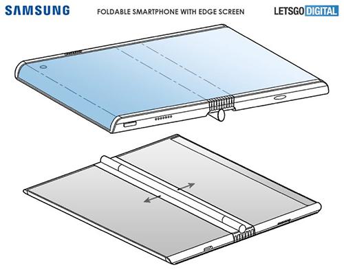 Bằng sáng chế smartphone màn hình vừa cong, vừa uốn dẻo của Samsung. Ảnh: LetsgoDigital