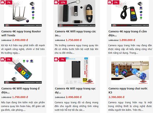 Nhiều mẫu camera ngụy trang được chào bán trên mạng.
