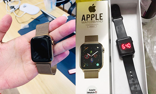Chiếc đồng hồ Apple Watch được quảng cáo (bên trái) và sau khi mua về (bên phải). Ảnh: Bảo Lâm.