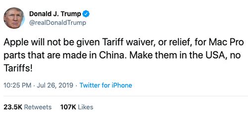 Ông Trump nói sẽ không miễn thuế cho Apple.